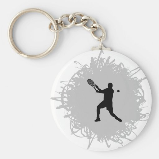 Tennis Scribble Style (Male) Basic Round Button Keychain