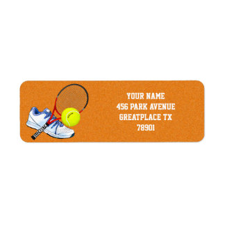 Tennis Shoe Ball And Racket With Your Custom Text Label