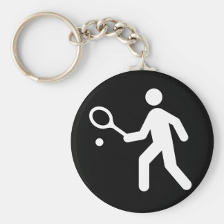 Tennis Sign Black and White Basic Round Button Keychain
