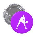 Tennis Silhouette Button Purple