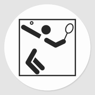 Tennis Silhouette Figure Classic Round Sticker