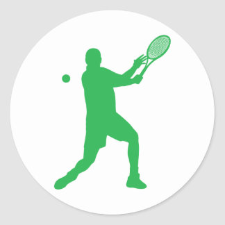 tennis silhouettes round stickers