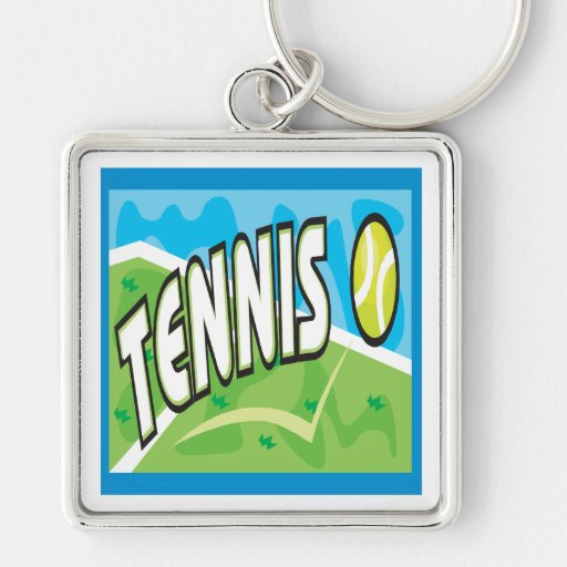 Tennis Silver-Colored Square Keychain