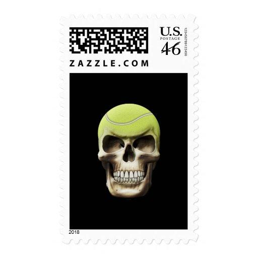 Tennis Skull Postage Stamps