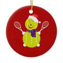 Tennis snowman ceramic ornament