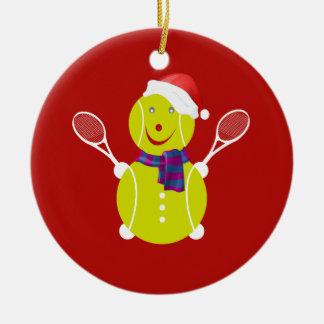 Tennis snowman ceramic ornament