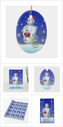 Tennis Snowman Happy Holidays cards and gifts