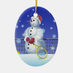 Tennis Snowman, Happy Holidays Ceramic Ornament at Zazzle