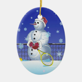 Tennis Snowman, Happy Holidays Double-Sided Oval Ceramic Christmas Ornament