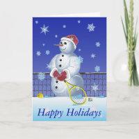 Tennis Snowman Happy Holidays Holiday Card