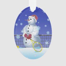 Tennis Snowman, Happy Holidays Ornament at Zazzle