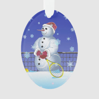 Tennis Snowman, Happy Holidays Ornament