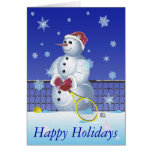 Tennis Snowman Happy Holidays personalized Greeting Card
