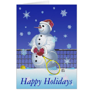 Tennis Snowman Happy Holidays personalized Card