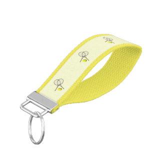 Tennis Sport Design Yellow Wrist Keychain