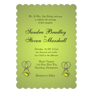 Tennis Sport Theme Lemon Lime Wedding Invitation Card