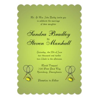 "Tennis Sport Theme Silver Wedding 5"" X 7"" Invitation Card"