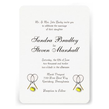 Tennis Sport Theme Wedding Cream Card
