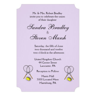 Tennis Sport Theme Wedding Lavender Invitation Card
