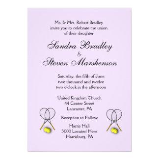 Tennis Sport Theme Wedding Lavender Invitation Card