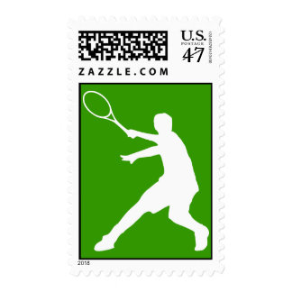 Tennis stamp with silhouette of player