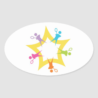 Tennis Starburst Oval Sticker