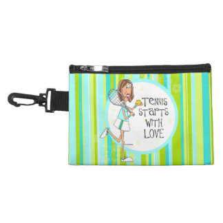 Tennis starts with love clip on accessory bag