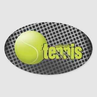 Tennis sticker, tennis ball, sport, personalized. oval sticker