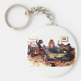 Tennis Table Cats Artwork by Louis Wain Basic Round Button Keychain