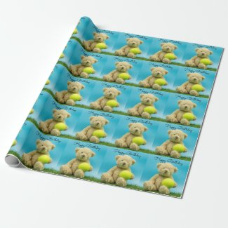 Tennis Teddy bear is holding ball birthday Wrapping Paper