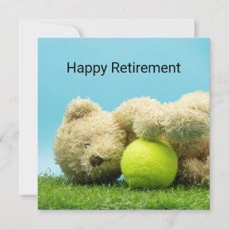 Tennis Teddy bear is holding ball  retirement Card