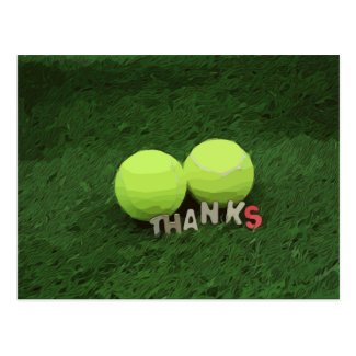 Tennis Thank you card  two tennis balls on green