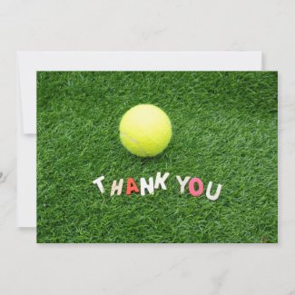 Tennis  Thank you card with ball on green