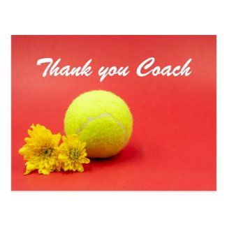 Tennis Thank you card with tennis ball and flower