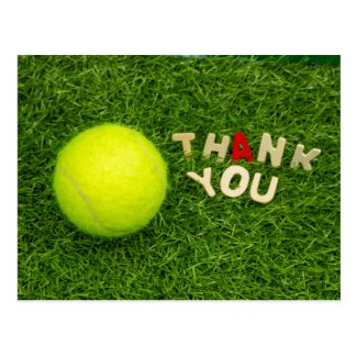 Tennis Thank you card with tennis ball and word