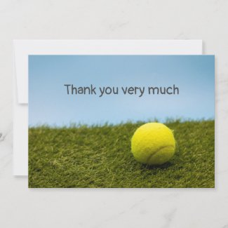 Tennis Thank you card with tennis ball on green