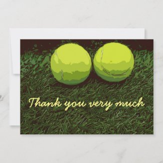 Tennis Thank you card with two tennis balls