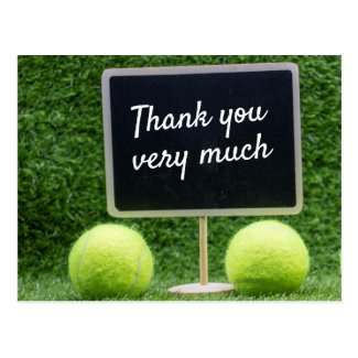 Tennis Thank you with hand writing on black board Postcard
