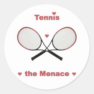 Tennis the Menace Hearts Classic Round Sticker