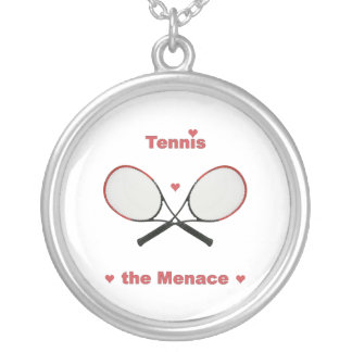Tennis the Menace Hearts Round Pendant Necklace