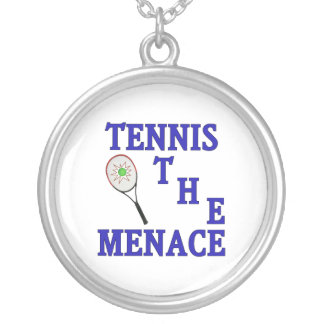 Tennis the Menace Racket Round Pendant Necklace