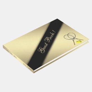 Tennis Theme Custom Gold Guest Book