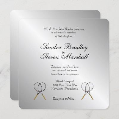 Tennis Theme Sports Wedding Invitations