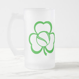 Tennis Three Leaf Clover for St. Patrick's Day Frosted Glass Beer Mug