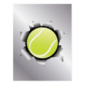 tennis thru metal sheet postcard