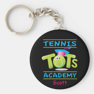Tennis Tots Academy_personalized_on black Keychain