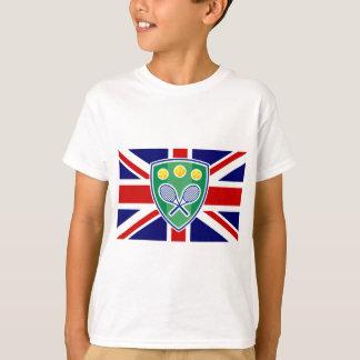 Tennis tshirt with English Union Jack flag logo