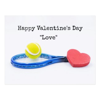 Tennis Valentine Day with ball racket and love Postcard