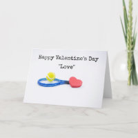 Tennis Valentine's Day with ball , racket and love Card