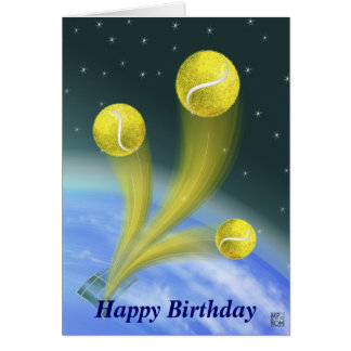 tennis victory Happy Birthday personalized Greeting Card